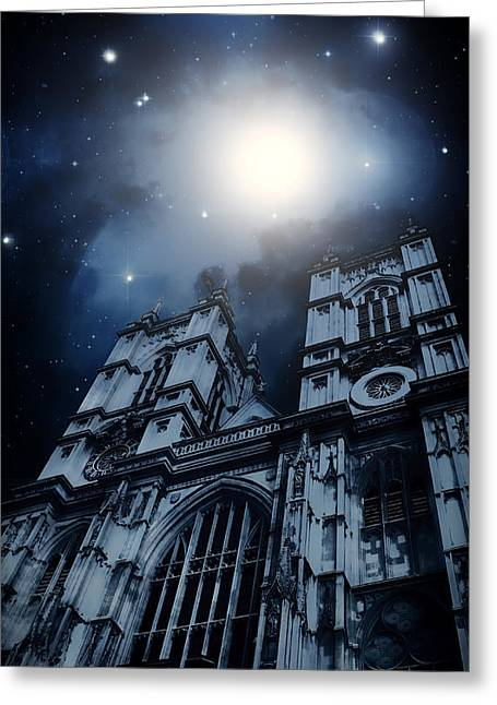 Reflections Digital Art Greeting Cards - London Cathedral under the Stars Greeting Card by Mountain Dreams