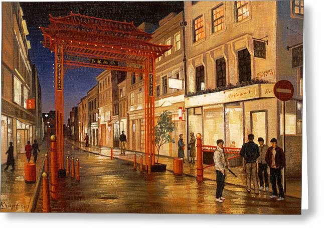 Rainy City Greeting Cards - London Chinatown Greeting Card by Paul Krapf