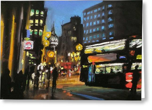 Traffic Pastels Greeting Cards - London City At Night Greeting Card by Paul Mitchell