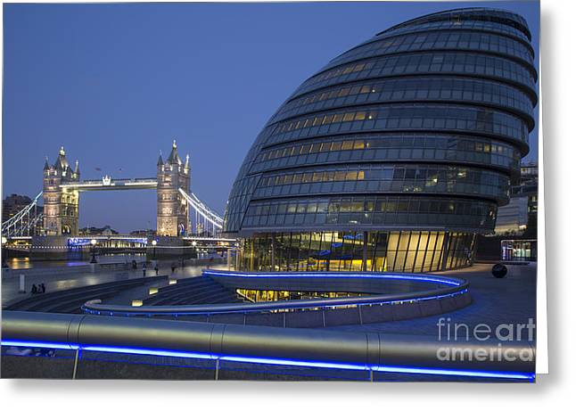 New Britain Greeting Cards - London City Hall - Tower Bridge Greeting Card by Brian Jannsen