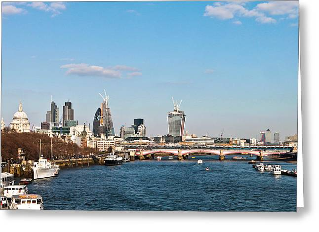 Sunny Afternoon Greeting Cards - London daytime Greeting Card by Tom Gowanlock