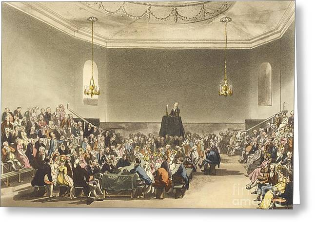 Discussing Photographs Greeting Cards - London Debating Society, 1808 Greeting Card by British Library