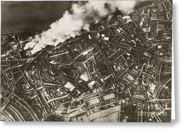 Air Raids Greeting Cards - London Docklands Air Raid, World War Ii Greeting Card by Mid-manhattan Library