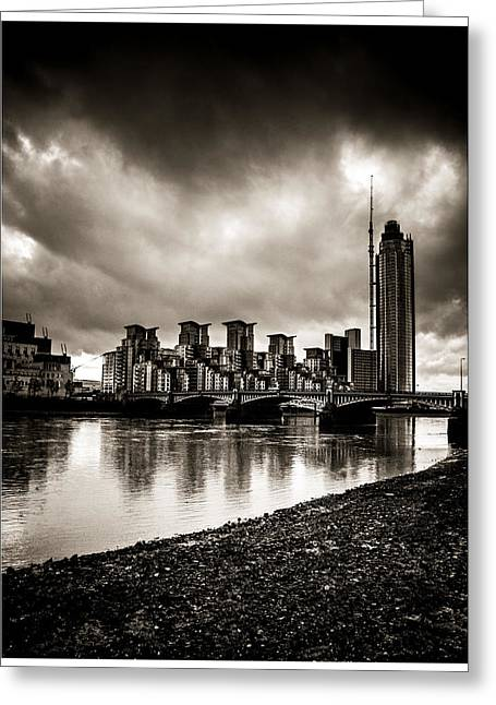 Runnycustard Greeting Cards - London Drama Greeting Card by Lenny Carter