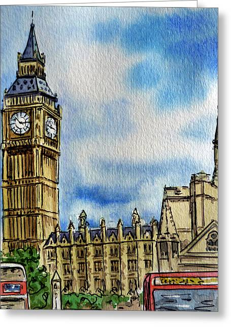 Tourists Greeting Cards - London England Big Ben Greeting Card by Irina Sztukowski