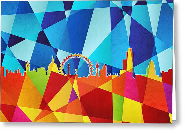 Abstract Geometric Digital Art Greeting Cards - London England Skyline Greeting Card by Michael Tompsett