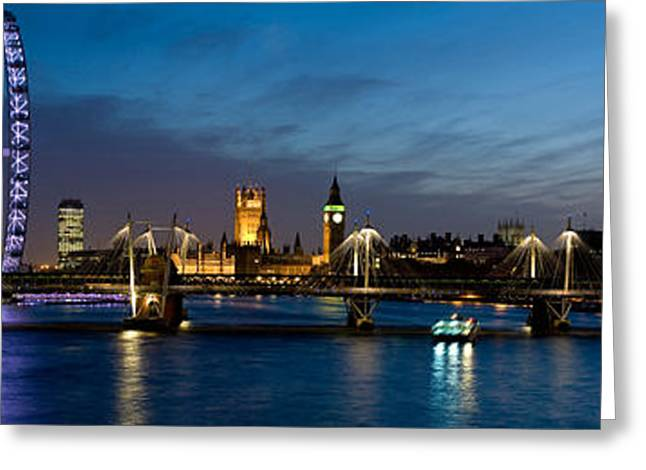 South Bank Greeting Cards - London Eye And Central London Skyline Greeting Card by Panoramic Images