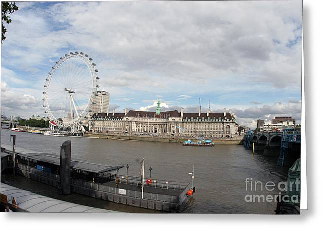 Amusements Greeting Cards - London Eye and County Hall Greeting Card by Jason O Watson