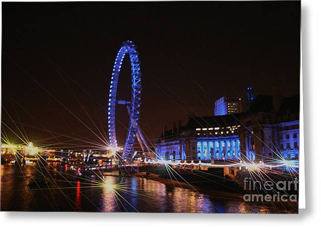 Owner Art Mixed Media Greeting Cards - London Eye Art III Greeting Card by Michael Braham