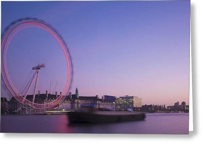 Violate Greeting Cards - London Eye Late Dusk Greeting Card by Clive Eariss
