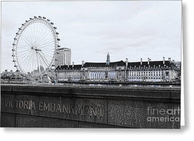 South Bank Greeting Cards - London Eye Mono Greeting Card by Jasna Buncic