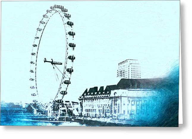 Town Mixed Media Greeting Cards - London Eye Vintage Greeting Card by Daniel Janda