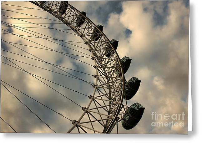 Indian Summer Greeting Cards - London Eye wheel against sky background Greeting Card by Indian Summer