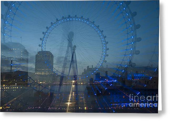 Reflections In River Digital Art Greeting Cards - London Eye Zoom Burst Greeting Card by Donald Davis