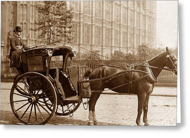 Hansom Cab Greeting Cards - London Hansom Cab Greeting Card by The Keasbury-Gordon Photograph Archive
