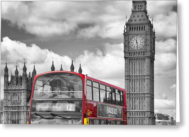 LONDON - Houses of Parliament and Red Bus Greeting Card by Melanie Viola