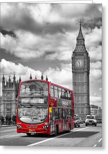 Colorkey Digital Greeting Cards - LONDON - Houses of Parliament and Red Bus Greeting Card by Melanie Viola