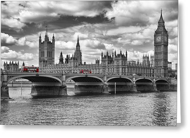 Horizontal Digital Art Greeting Cards - LONDON - Houses of Parliament and Red Buses Greeting Card by Melanie Viola