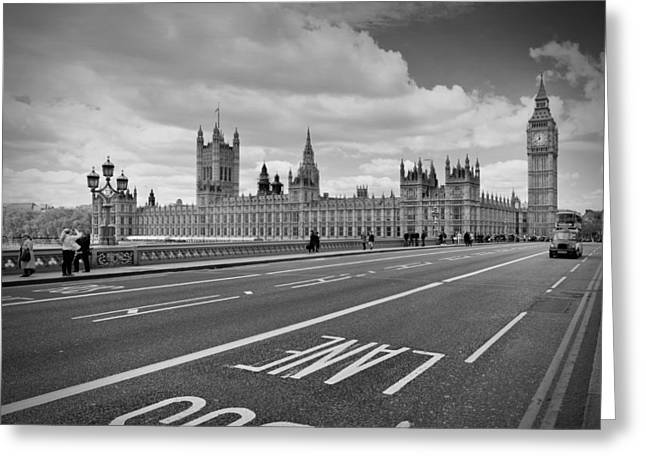 Old Towns Digital Art Greeting Cards - London - Houses of Parliament  Greeting Card by Melanie Viola