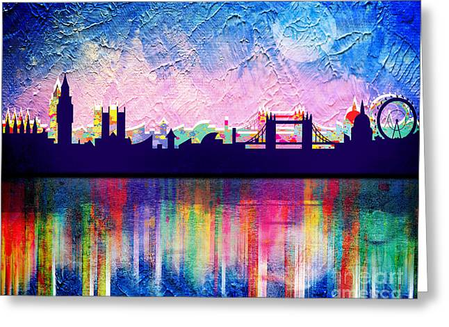 New Britain Digital Art Greeting Cards - London in blue  Greeting Card by Mark Ashkenazi