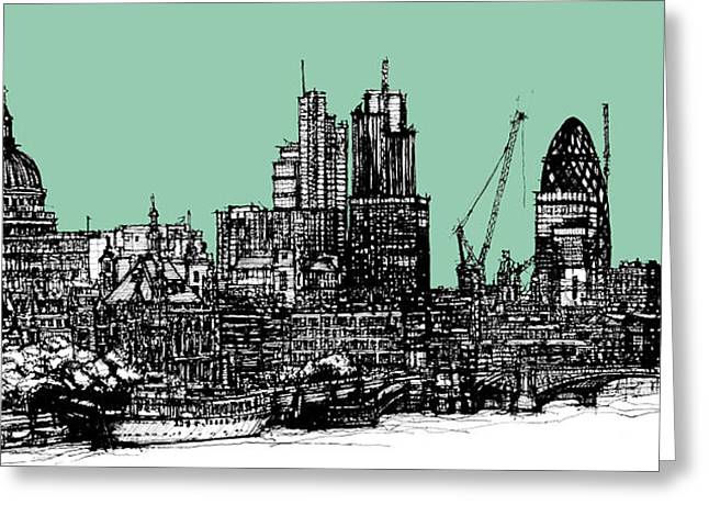 Pen And Ink Framed Prints Greeting Cards - London in green blue ink Greeting Card by Lee-Ann Adendorff