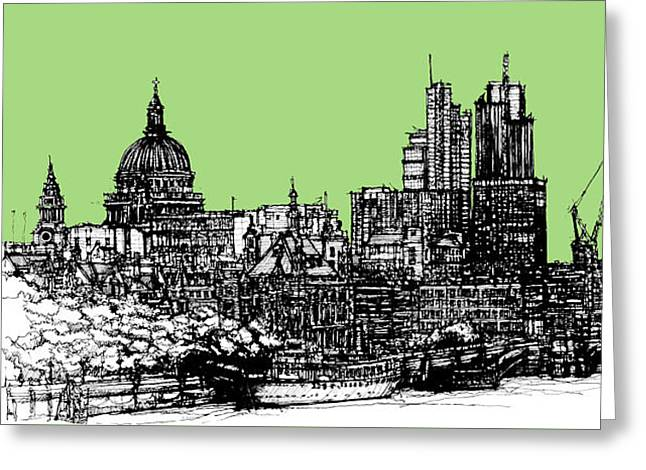 Pen And Ink Framed Prints Greeting Cards - Dark Ink of London with hemlock green Greeting Card by Lee-Ann Adendorff