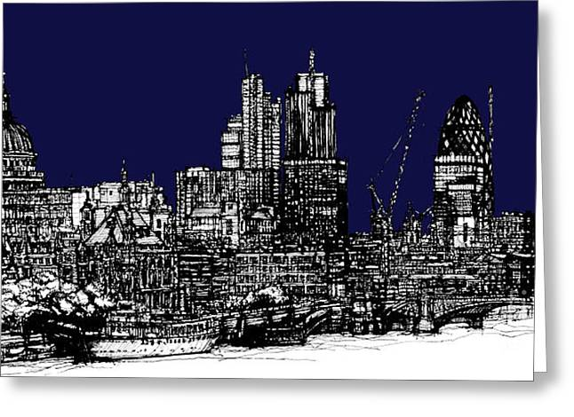 Pen And Ink Framed Prints Greeting Cards - London roofscape in navy blue Greeting Card by Lee-Ann Adendorff