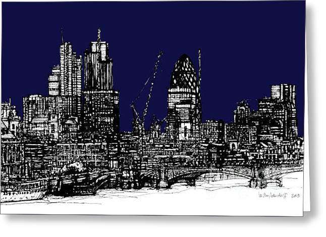 Pen And Ink Framed Prints Greeting Cards - Dark Ink with bright London roofscape in navy blue Greeting Card by Lee-Ann Adendorff