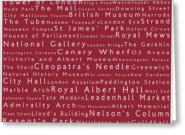 Abbey Road Greeting Cards - London in Words Red Greeting Card by Sabine Jacobs