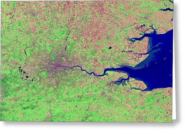 Land Use Greeting Cards - London, infrared satellite image Greeting Card by Science Photo Library