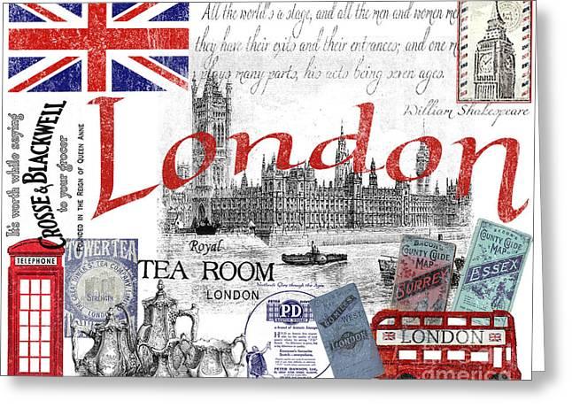 Clocks Digital Art Greeting Cards - London Greeting Card by Jean Plout