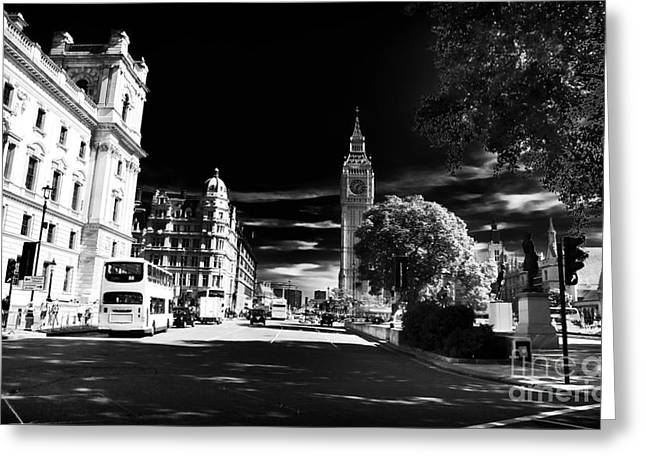 School Bus Print Greeting Cards - London Greeting Card by John Rizzuto