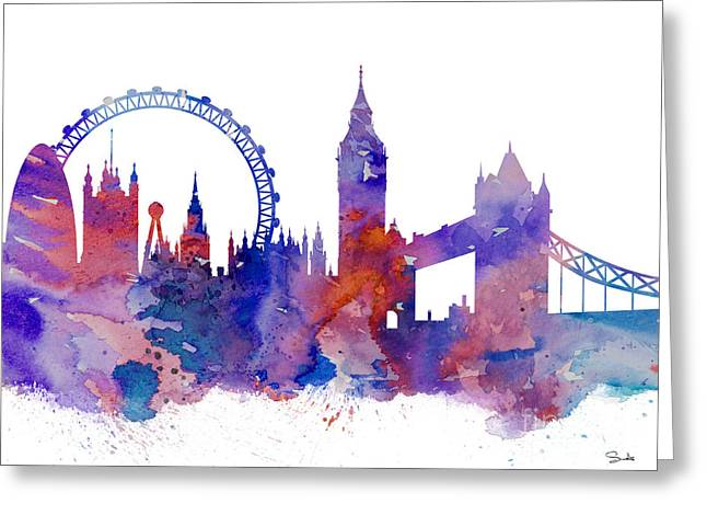 Illustration Posters Greeting Cards - London Greeting Card by Luke and Slavi