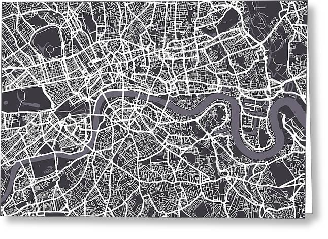 Capital Greeting Cards - London Map Art Greeting Card by Michael Tompsett