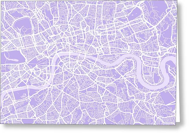 England Map Greeting Cards - London Map Lilac Greeting Card by Michael Tompsett
