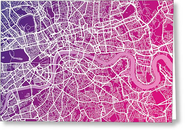 England Map Greeting Cards - London Map Red Greeting Card by Michael Tompsett