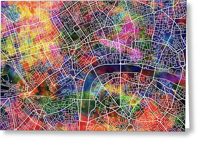 Abstract Map Greeting Cards - London Map Watercolor Greeting Card by MB Art factory
