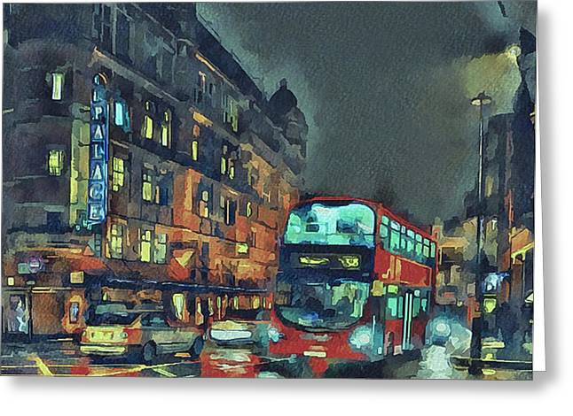 Old Town Digital Greeting Cards - London night 1 Greeting Card by Yury Malkov