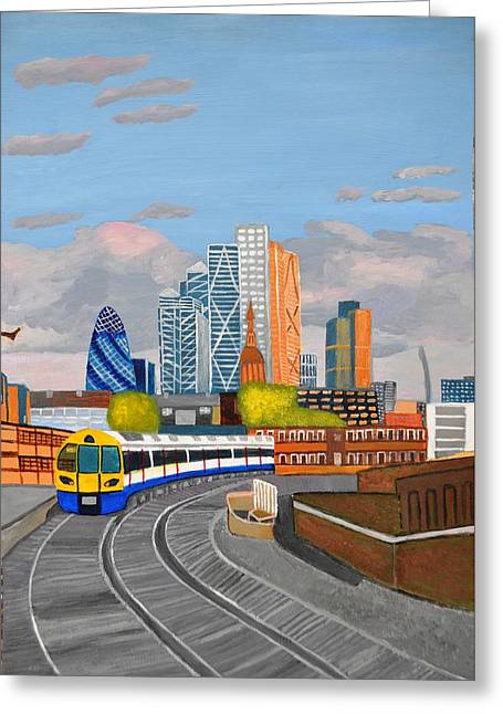 London Overland Train-hoxton Station Greeting Card by Magdalena Frohnsdorff