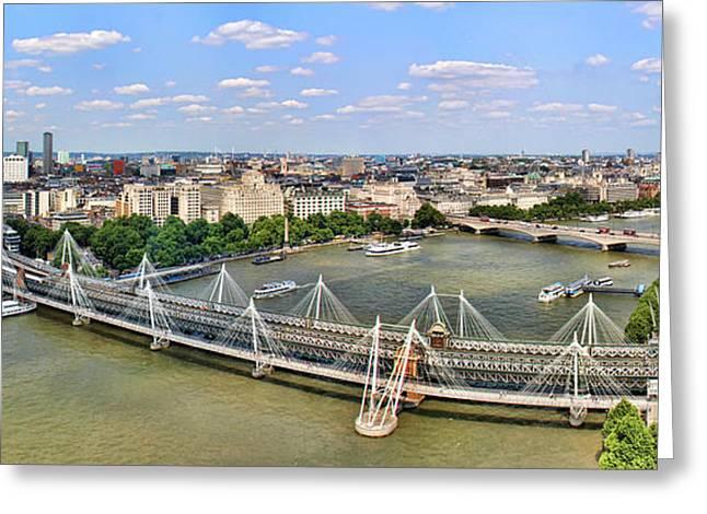 London Eye River Cruise Greeting Cards - London Panorama Greeting Card by Mariola Bitner