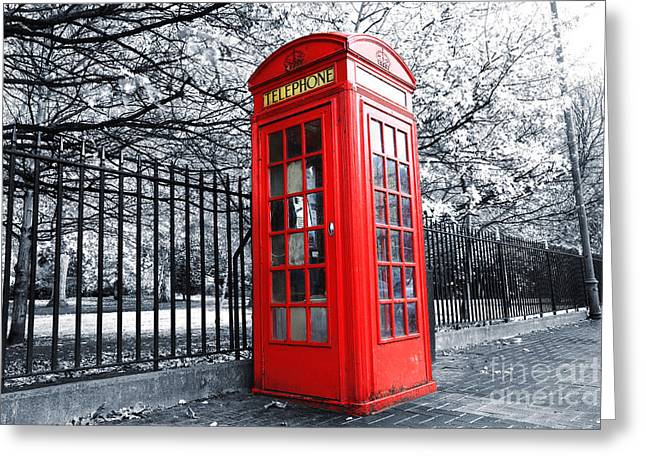 Old Cabins Greeting Cards - London Phone Box Greeting Card by Simon Kayne