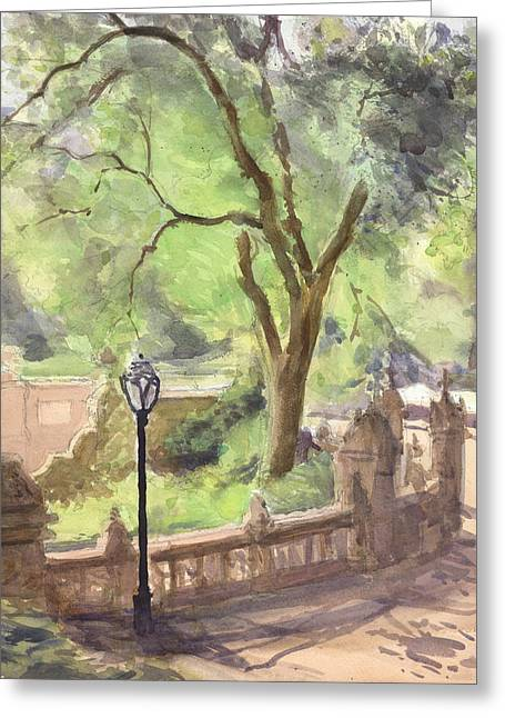 Park Scene Paintings Greeting Cards - London Plane Bethesda Terrace Greeting Card by Walter Lynn Mosley