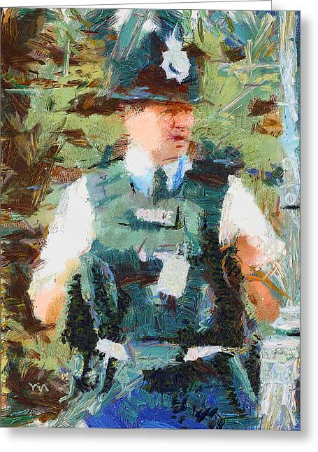 Police Art Greeting Cards - London Police Greeting Card by Yury Malkov