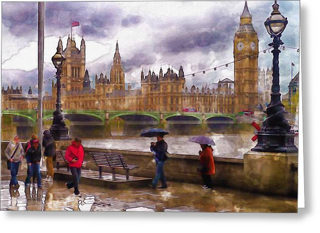 Lamp Post Mixed Media Greeting Cards - London Rain watercolor Greeting Card by Marian Voicu