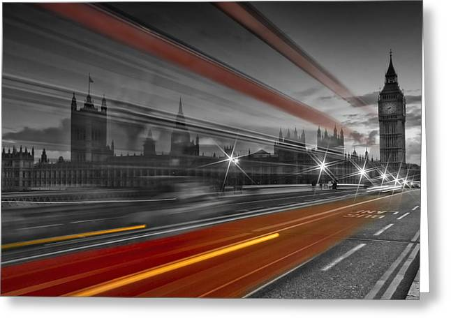 Colorkey Digital Greeting Cards - LONDON Red Bus Greeting Card by Melanie Viola