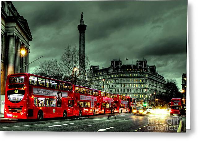 London Red Buses And Routemaster Greeting Card by Jasna Buncic