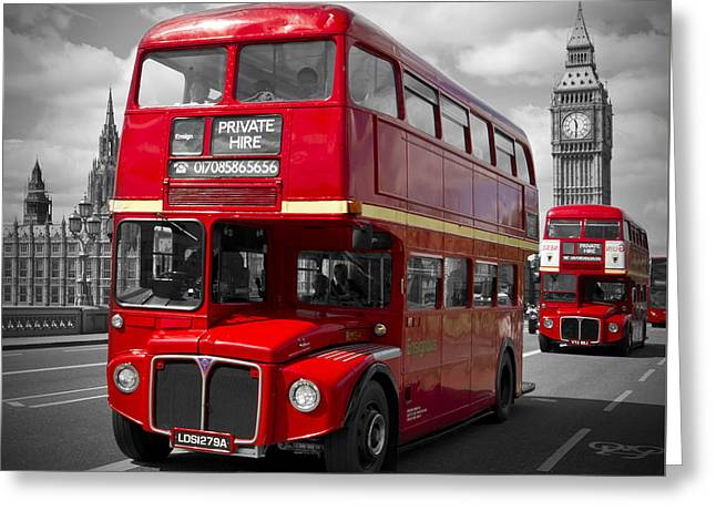 Famous Bridge Greeting Cards - LONDON Red Buses on Westminster Bridge Greeting Card by Melanie Viola