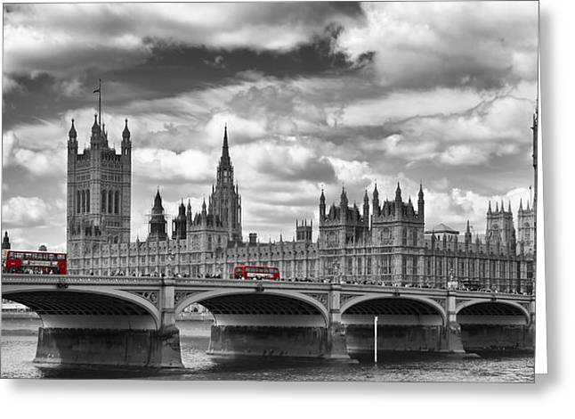 Gb Greeting Cards - LONDON River Thames and Red Buses on Westminster Bridge Greeting Card by Melanie Viola