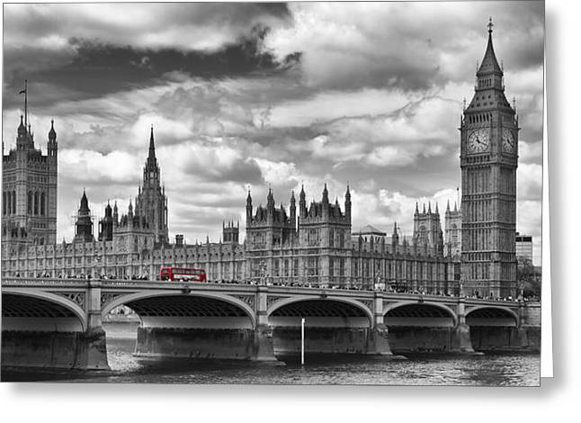 Historic England Greeting Cards - LONDON River Thames and Red Buses on Westminster Bridge Greeting Card by Melanie Viola
