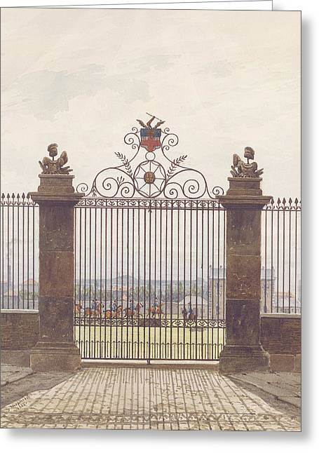 Iron Gate Greeting Cards - London Scene, 1815 Wc On Paper Greeting Card by George Sidney Shepherd